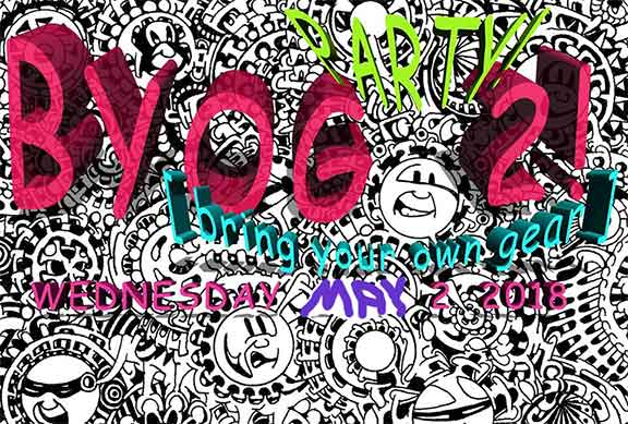BYOG Bring Your Own Gear Party poster with cartoon gears behind it art work by Jordan Anderson